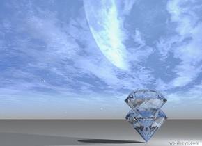 a very giant sphere diamond. One very giant sphere diamond inside sphere diamond.  a light out of the diamond.