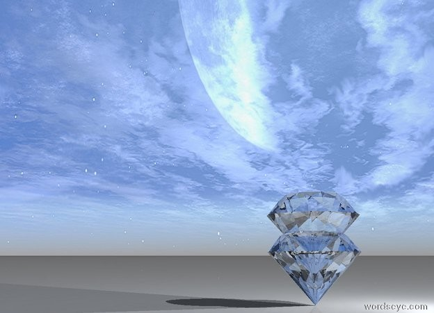 Input text: a very giant sphere diamond. One very giant sphere diamond inside sphere diamond.  a light out of the diamond.