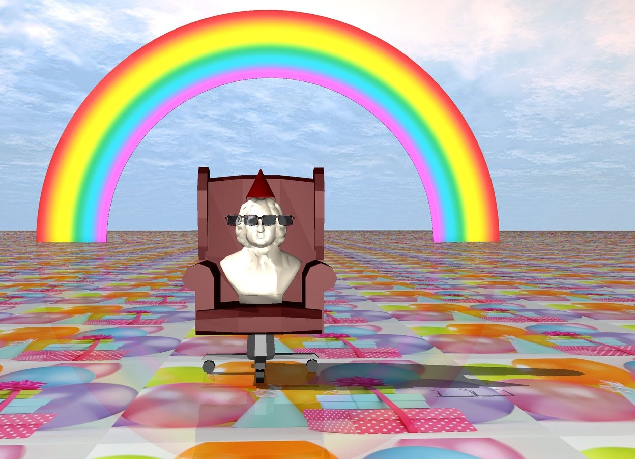 Input text: There is a seat. There is a man on the seat. The ground is [party]. [party] is 6 feet wide. the sunglasses are 1 centimeter in front of the man. the sunglasses are 85 centimeters above the ground.   The rainbow is 150 feet behind the seat. There is a hat on top of the man. the hat is 14 centimeters inside the man.