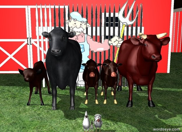 Input text: five large cows are on grass ground.  a large farmer is behind the cows.  a giant white fence is behind the farmer.  a large red barn is behind the fence.  there are three chickens in front of the cows.