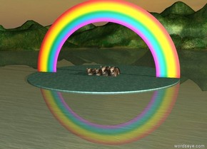 5 Huge cats in the lake.  It is dawn.  Rainbow.