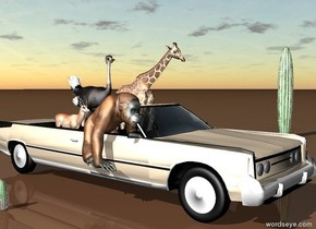 a big silver birch beige car is on the earth gray ground. cloudy sky. A small giraffe is in the car. An ostrich is behind the giraffe. east from the ostrich is a gazelle.. east from the giraffe is a orangutan. 5 feet west from the car is a cactus. 30 feet right of the car is a  big cactus