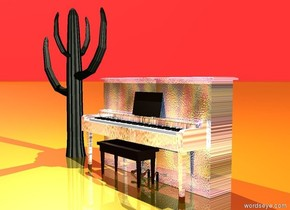 there is a glass piano. the shiny ground is gold. the sky is red. the cactus is to the left of the piano. there is white light above the cactus.