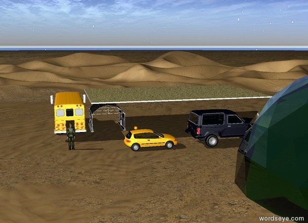 Input text: The  school bus is in the desert. It is facing North. It is 9 feet tall.  The green structure is 20 feet Southeast of the school bus. It is 40 feet wide.  The long tarp is East of the school bus. It is 9 feet above the ground.  The man is 2 meters South of the school bus.  The car is 2 meters Southeast of the bus. It is facing East.  The bronco is 1 meter East of the car. It is facing East.  The carwash is .1 meter East of the bus. It is 7 feet tall.  The orange sphere is 15 feet North of the car.