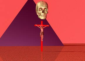 the lime green skull is on the  red crucifix. the ground is sand.the crucifix is 3 feet tall. the skull is 2 feet tall. the ambient light is bright red.the sky is dark red. the purple pyramid is 20 feet tall. the pyramid is 20 feet behind the crucifix. the sky is fire.
