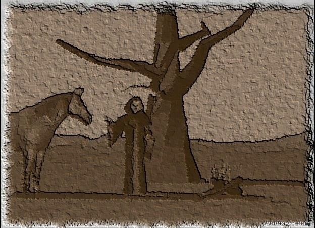 Input text: death is in front of a tree. the ground is water. there is a gigantic dirt circle under the tree. the sky is white. a fire is two feet to the right of death. a horse is one foot to the left of death. the horse is facing death.