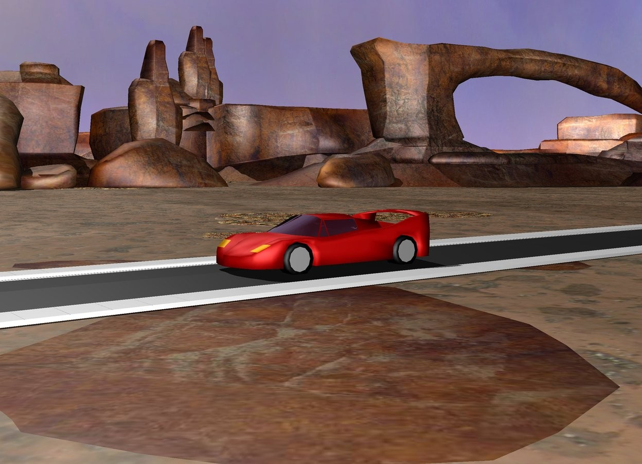Input text: the car is on the ground. There is a 100 foot long street under the car.