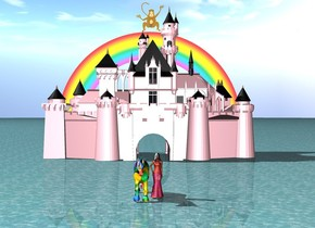 There is a pink castle. The ground is water. There is a rainbow behind the castle. The rainbow is on top of the castle. There is a big princess 70 feet in front of the castle. There is a big [purple] unicorn on the left of the princess. the huge monkey is on top of the rainbow.