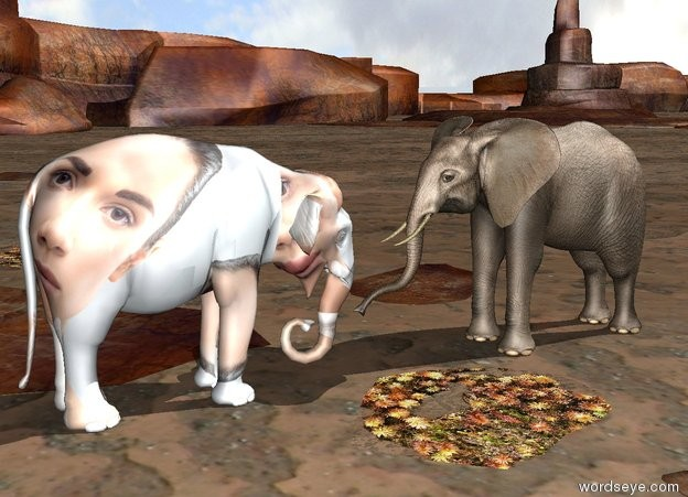 Input text: A  [human] elephant is facing a second elephant. The second elephant is facing the elephant