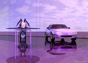 A reflective purple car is facing southeast.  A reflective purple table is 2 feet south of the car. A shiny pastel pink skull facing southeast is on the table.  A big white transparent gargoyle facing southeast is 1 meters west of the car.  An enormous shiny transparent wall is north of the car.  A 2nd enormous shiny blue wall is 50 feet south of the wall.  The camera light is pastel pink.  The ground is shiny purple.