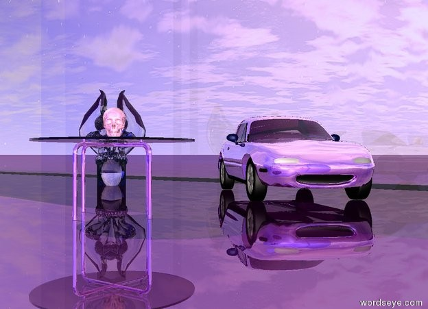 Input text: A reflective purple car is facing southeast.  A reflective purple table is 2 feet south of the car. A shiny pastel pink skull facing southeast is on the table.  A big white transparent gargoyle facing southeast is 1 meters west of the car.  An enormous shiny transparent wall is north of the car.  A 2nd enormous shiny blue wall is 50 feet south of the wall.  The camera light is pastel pink.  The ground is shiny purple.