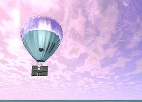 a black piano 10 feet above the ground. a silver balloon 13 feet above the ground. the piano is in front of the balloon. a silver skeleton in front of the piano. the skeleton faces the piano. the ground is water. The skeleton is 9 feet above the ground