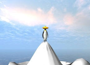 There is a penguin on top of a white mountain. the ground is clear. There is a hat on top of the penguin.