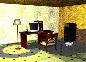 A black computer on a desk.  Next to the computer is a monitor.  A chair in front of the desk facing north.  The floor under the desk is tile.  One meter behind the desk is a [glass] wall.  A [brick] wall facing west is two meters right of the desk.  A cabinet next to the wall faces west.  The big ceiling above the wall is wood.  A lamp to the left of the desk on the floor.  The yellow light is above the lamp.  A white cat one meter to the right of the chair.