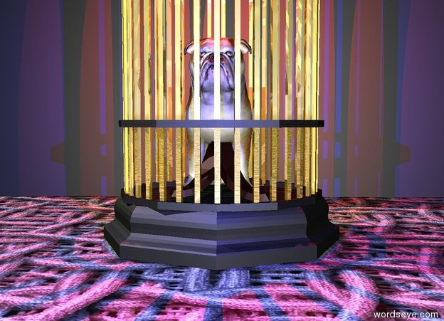 Input text: the small dog is inside the shiny gold birdcage. the ground is metal. the red light is 2 inches above the dog. the blue light is 2 inches in front of the dog.  the huge matte black cube is 1 foot behind the birdcage. it faces the birdcage.