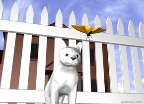 the cat is above the ground. the ground has a green grass texture. a butterfly is six inches in front of the cat. the butterfly is facing the cat. the butterfly is ten inches above the ground. there is a picket fence behind the cat. there is a house ten feet behind the picket fence. the cat is white.