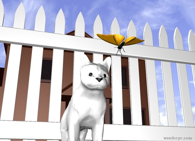 Input text: the cat is above the ground. the ground has a green grass texture. a butterfly is six inches in front of the cat. the butterfly is facing the cat. the butterfly is ten inches above the ground. there is a picket fence behind the cat. there is a house ten feet behind the picket fence. the cat is white.