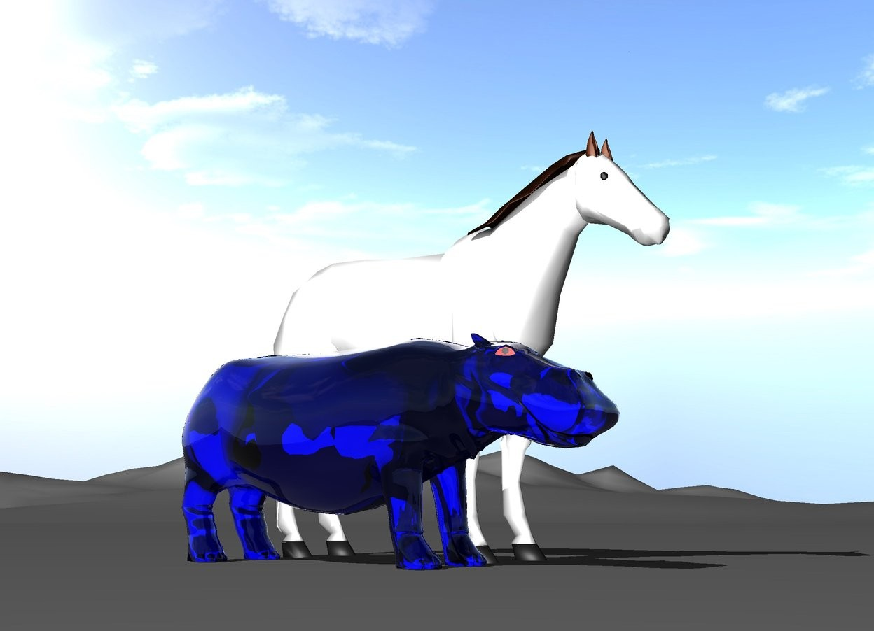 Input text: The transparent blue hippo is next to the white horse.