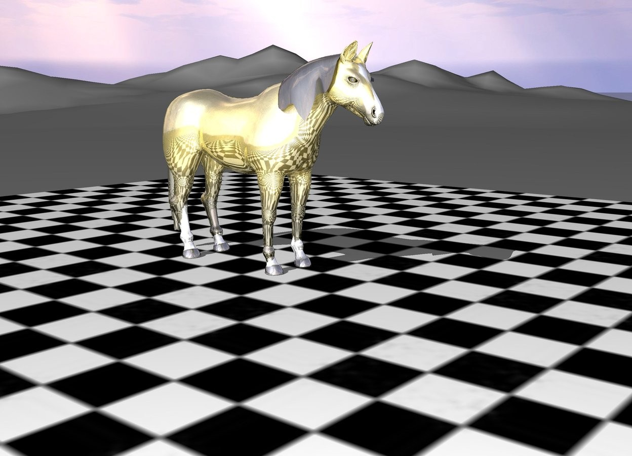 Input text: The gold horse is on the large checkerboard floor.