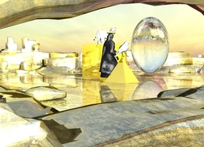 there is a golden pyramid on top of a white cat. A white bird is on top of the pyramid. The white cat is on top of a large golden cube. The golden cube is inside a 10 foot wide golden cylinder. The cylinder is 60 feet above the ground.  There is a 55 foot tall woman under the cylinder. there is a 20 foot wide golden cube under the woman. The ground is gold.  the sky is reflective. There is a bright white light on top of the woman. there is a white light inside the woman. It is bright.there is a translucent golden pyramid on top of a white cat.  next to the woman a 20 foot tall  white bird is on top of the 30 foot tall gold pyramid. The 30 foot tall white cat is on top of a 50 foot wide gold cube. There is a 90 foot tall and 60 foot wide transparent sphere 60 feet in front of the woman. There is a purple light in front of the sphere.
