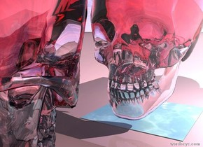 the enormous transparent pink skull is several inches above the tiny water floor. skull is facing left. the ground is pink. the enormous silver cube is 2 feet to the left of the skull.