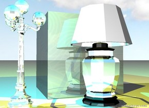 the huge dark water cube is behind the large silver lamp . the small  silver lamp post is one foot to the left of the lamp.    The cyan light is two feet above the lamp post. The yellow light is two feet above the lamp.