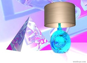 the [speed] pyramid is 2 feet above the shiny pink ground.   the small transparent cyan lamp is several inches to the right of the pyramid.  the pink light is 1 foot above the lamp.  the sky is  tiny [speed].