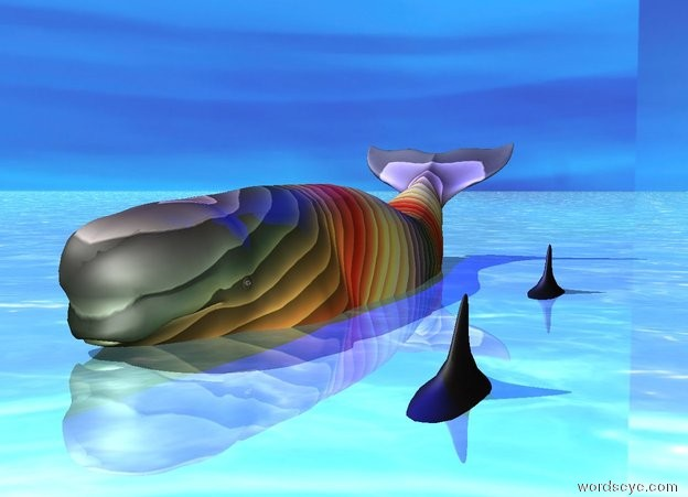 Input text: The beluga whale is rainbow. It is 20 inches in the ground. The ground is shiny water. The sky is [texture]. There is a dolphin on the right of the whale. There is a 2nd dolphin in front of the dolphin. There is a blue light on the whale.