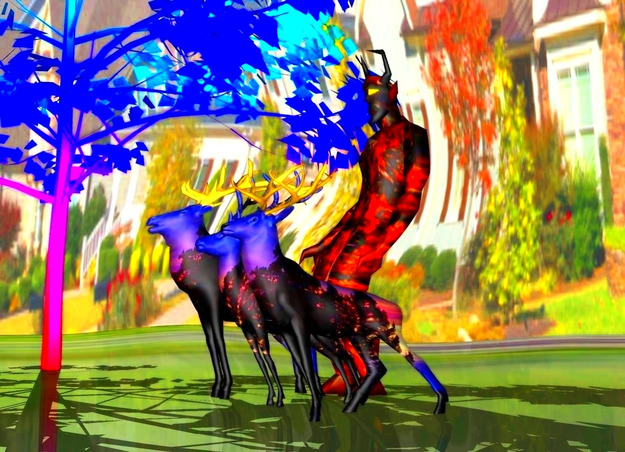 Input text: 3 forest deer.  [ghn] sky.   rainbow tree next to deer.  big lava devil behind deer.  [image-8890] ground.