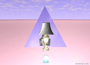 the giant gold water lamp is 1 foot above the tiny water door. lamp is facing left. the door is facing left. lamp is 8 feet above ground. the ground is pink. the enormous silver pyramid is 1 feet to the left of the lamp. cube facing northeast. cube is 4 feet above ground