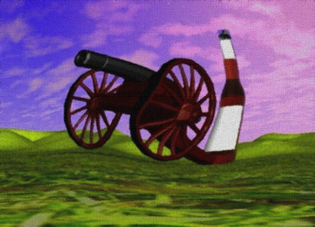 Input text: cannon on grass desert.  giant bottle behind cannon.  it is morning.