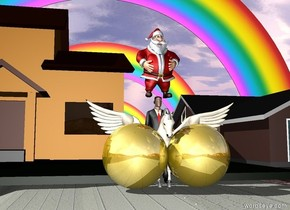A businessman is on the extremely long brick road. Two huge gold spheres are in front of the businessman. A pegasus is under the businessman. Two houses are behind the businessman. A small rainbow is behind the houses. A tiny rainbow is in front of the small rainbow. A rainbow is behind the small rainbow. Santa is on top of the businessman.