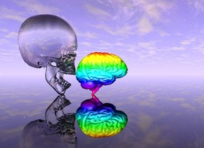 clear skull behind small rainbow brain.  clear ground.