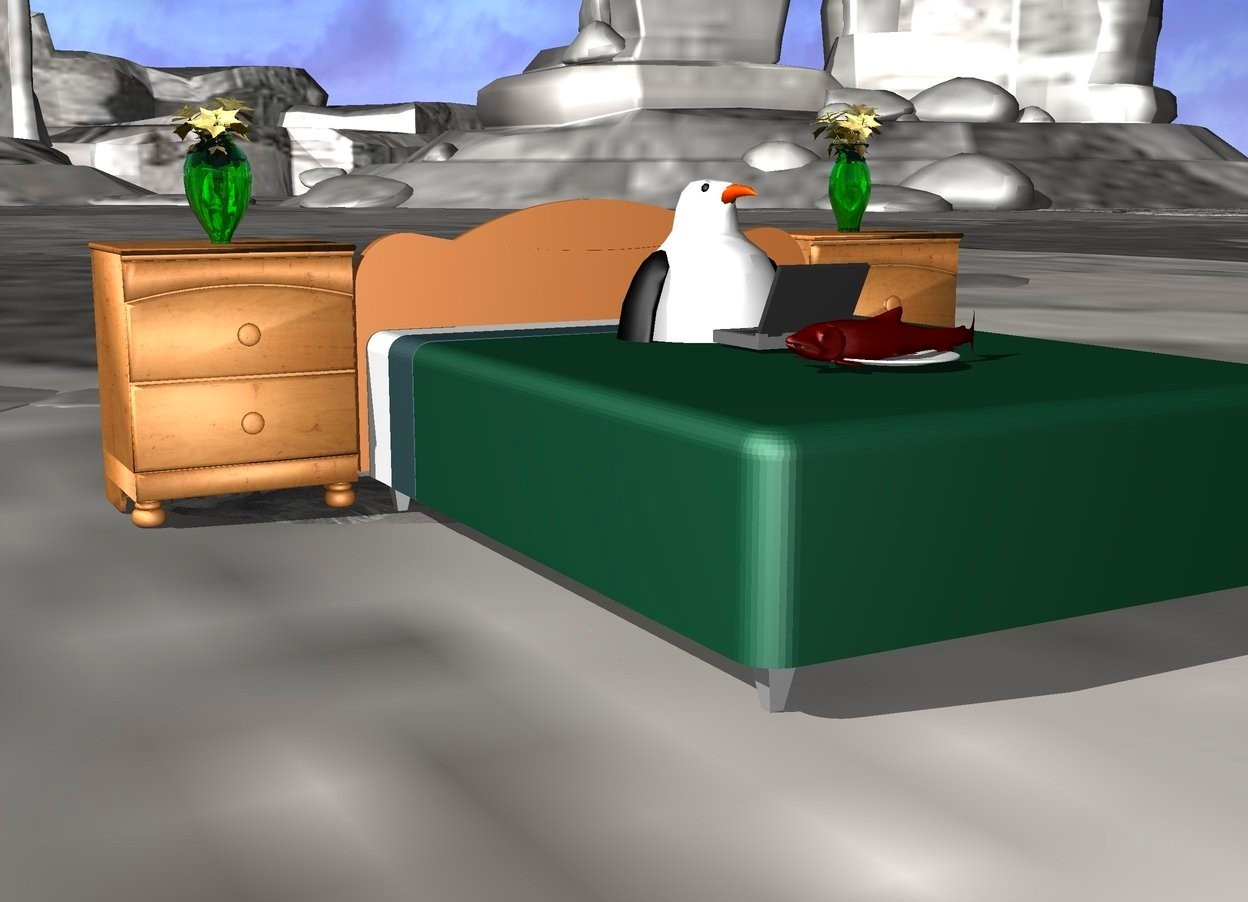 Input text: There is a bed. There is a stand on the left of the bed. it is -10 centimeters behind the bed. There is a small transparent green vase on the stand. there is a flower inside the vase. There is a 2nd stand on the right of the bed. it is -10 centimeters behind the bed. There is a 2nd small transparent green vase on the stand. There is a 2nd flower in the 2nd vase. A penguin is 50 centimeters in the bed. The ground is ice. There is a computer on the bed. the computer is in front of the penguin.the computer is facing the penguin. there is a plate 10 centimeters in front of the computer. There is a salmon on the plate. it is facing west.