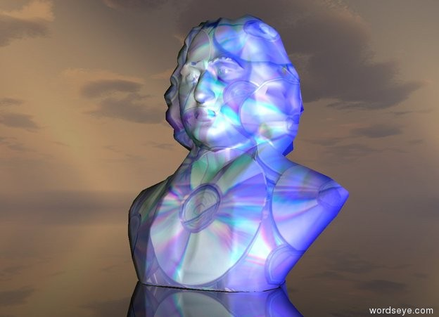 Input text: it is dawn. it is dark. there is a statue 2.5 inches in the ground. the statue is facing west. the [CD reflect] image is on the statue. the sky is shiny. the soft blue light is three feet in front of the statue. the ground is transparent.