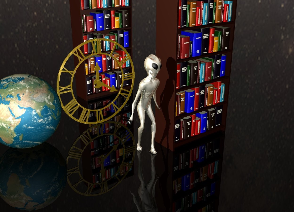 Input text: translucent dark ground. [shk]  sky.  earth.  chrome alien is next to 1st bookcase.  huge gold wall clock 3 feet behind alien.  2nd bookcase is 6 feet behind 1st bookcase.  it is dusk.
