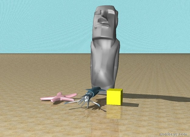 Input text: water sky. sand ground.  big gray easter island monument behind sky blue squid.  enormous pink starfish left of squid.  big yellow cube right of squid.