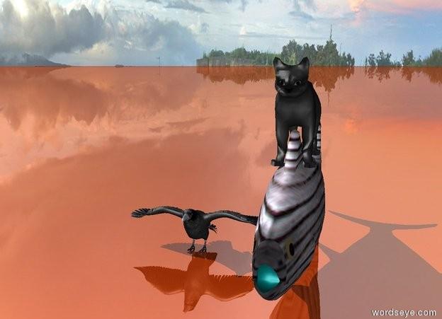 Input text:  .A cat is on the fish.The bird is blue.The  fish is glass. the ground is shiny red copper.