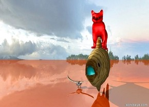 .A red cat is on the fish.The bird  .fish is glass. the ground is shiny red copper.