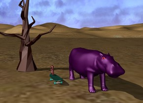 A brown baby is on a small skateboard. It is 1 foot to the left of a small purple hippo. They are 1 feet in front of a tiny dead tree. They are in the desert.