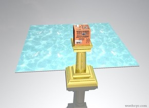The big [ht] stands on the pedestal. the floor is made of water. The pedestal is golden. There is [ht]. There is a  in front of the pedestal.