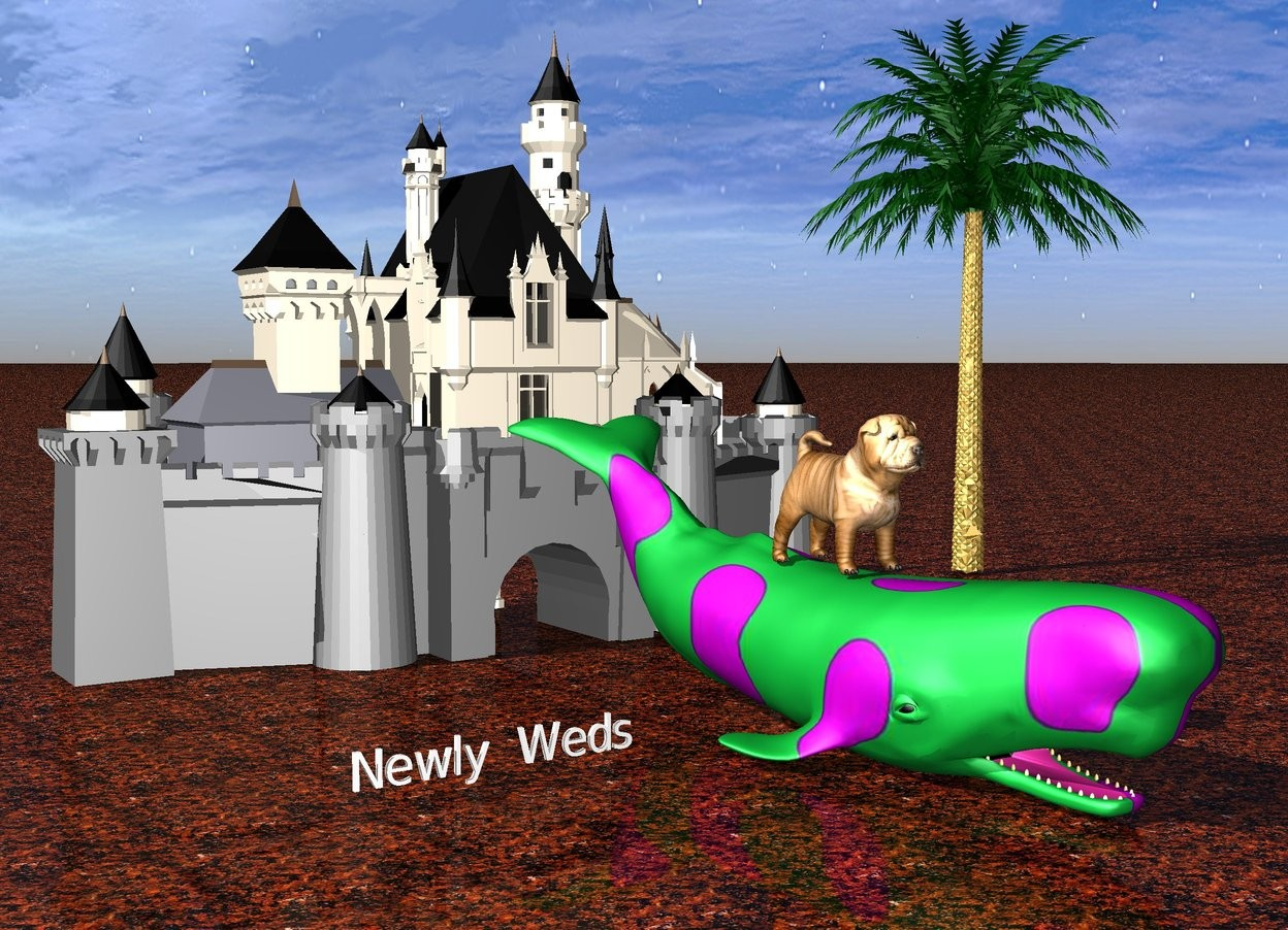 "Input text: A very large puppy is on a small polka dot whale. A small ""Newly Weds"" is 1 feet to the left of the polka dot whale. The large puppy is 10 feet in front of a very small castle. A small tree is 2 feet to the right of the castle. The ground is lava."