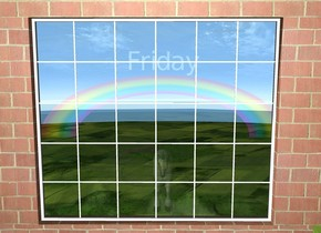 """There is a window 300 feet above the ground.There is a brick wall under the window. there is a 2nd brick wall on the left of the window. there is a 3rd brick wall on the right of the window. There is a 4th brick wall on top of the window. There is a long rainbow 300 feet in front of the window. The rainbow is 10 feet below the window. an enormous """"Friday"""" is on top of the rainbow. there is a 50 foot tall unicorn 2 feet under the rainbow. it is facing the window."""