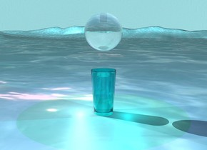 The giant cyan  glass is on the ground.  The ground is water.  the transparent big sphere is one feet above the glass.  the sky is water.  the purple light is two inches above the sphere.  the white light is two inches on the left of the glass.  the cyan light is two inches on the right of the glass.