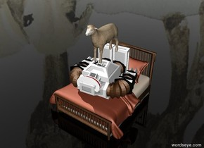 Robot is on a bed. Robot is facing up. A sheep is above the robot. The sky is sheep. The ground is invisible