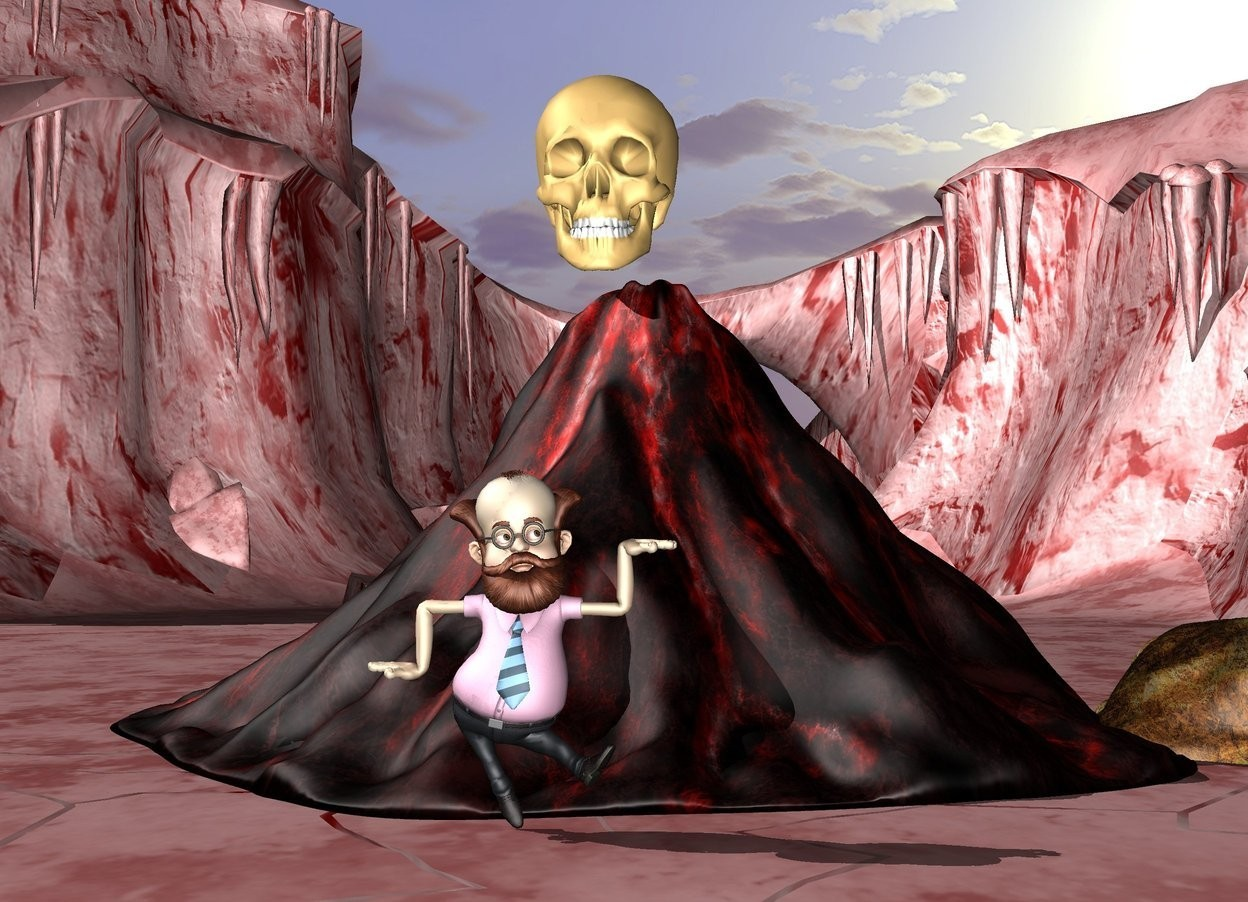 Input text:  the 20 foot tall skull is on the red volcano.   the huge professor is in front of the volcano.  the cave is -10 feet right of the volcano. the ground is red.