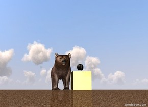 Big Brown Bear. big kiwi stands on Huge Golden cube.  The ground was sand.