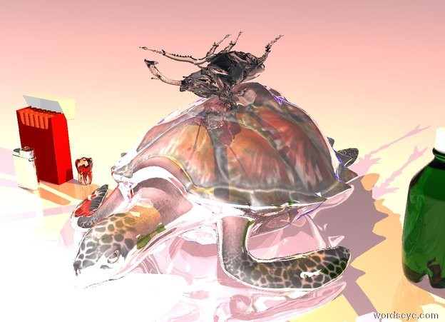 Input text: a silver turtle. a giant translucent beetle is on top of the turtle. the beetle is upside down. the ground is shiny pink. the sky is black. there is blue light under the turtle. there is bright orange light above the beetle. 5 inches to the left of the turtle is a  giant translucent tooth. 2 inches to the left of the tooth is a giant cigarette pack. 2 inches in front of the cigarette pack is a large silver lighter. 5 inches to the right of the turtle is a large soda bottle.