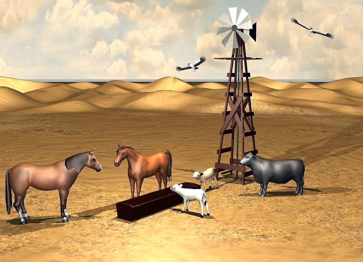 Input text: a large trough. 1st beige cow is right of the trough.it faces the trough. 2nd tan cow is behind the trough. 1st  horse is left of the trough. 2nd horse is left of and -0.1 feet in front of the trough. it faces northeast. a bull is 2 feet northeast of the trough. it faces southwest. a windmill is 5.5 feet behind the trough. the sun's altitude is 87 degrees. the sun's azimuth is 108 degrees. 1st vulture is 12 feet above the ground and 2 feet left of the windmill. it leans 23 degrees to the southeast. 2nd vulture is 15 feet above the ground and 3.5 feet right of the windmill. it leans 37 degrees to the southwest. the sun is tan. a beige light is 10 feet above the trough