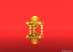a huge golden reflective skull. The sky is red. The ground is clear. A big golden reflective uzi. The uzi is west of the skull. Another big golden reflective uzi. It is east of the skull. It is noon. The light is 1 feet above the skull.